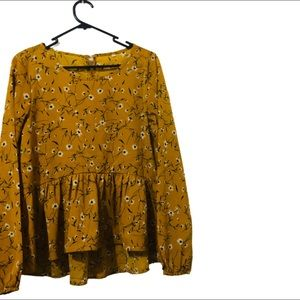 Modest Charming Floral Long Sleeve Top   Size :S